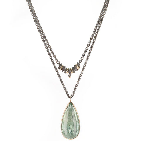 "Jamie Joseph Teardrop Green Beryl ""Convertible"" Necklace on Mixed Metal Chain"