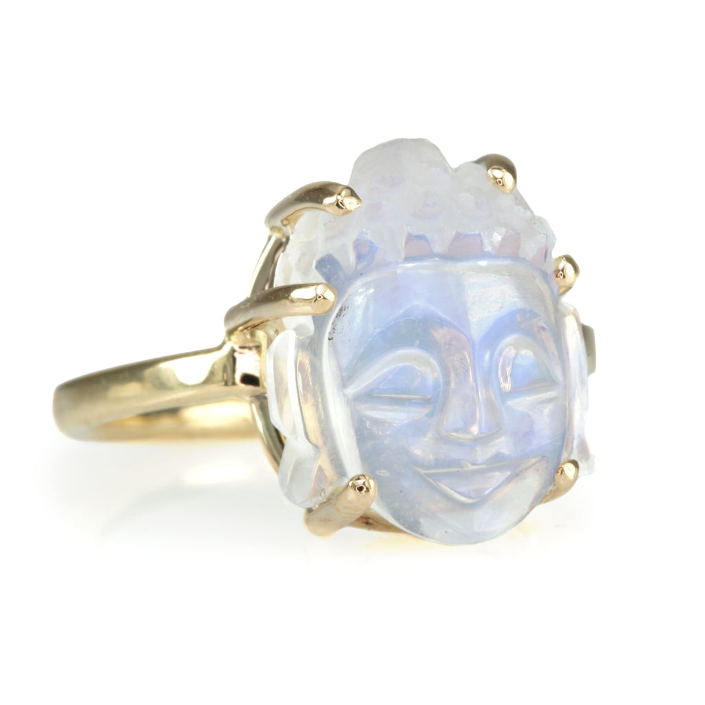 "Jamie Joseph White Rainbow Moonstone ""Buddha"" Ring"