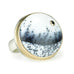 Round Dendritic Opal Ring with Black Diamond