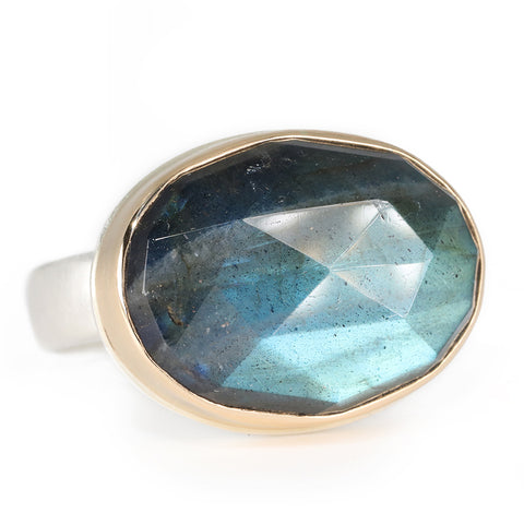Rose Cut Oval Labradorite Ring