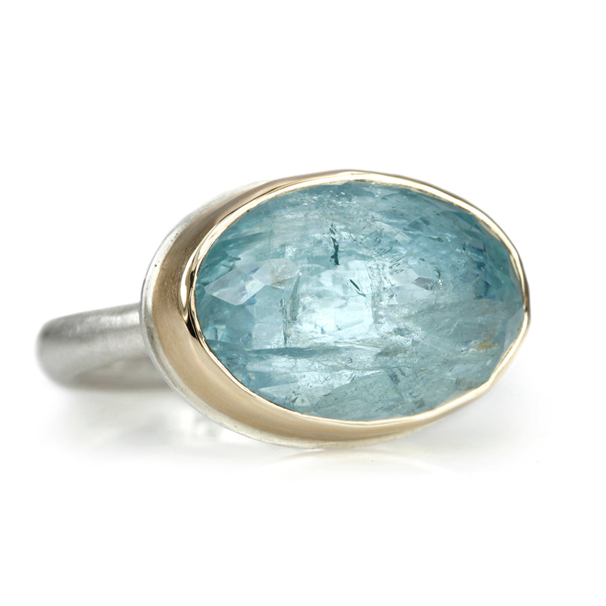 Oval Inverted Aquamarine Ring