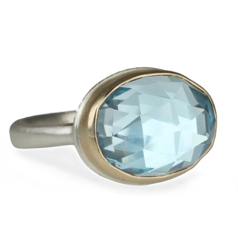 Jamie Joseph Small Oval Rose Cut Sky Blue Topaz Ring