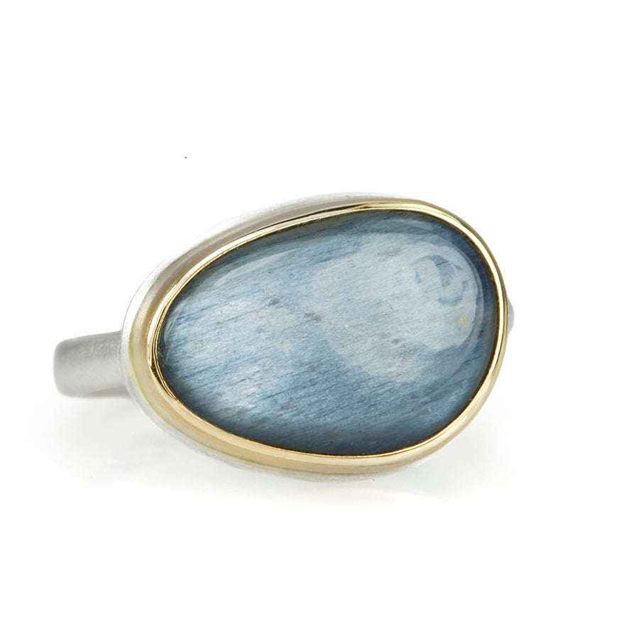 Small Asymmetrical Smooth Grey Moonstone Ring