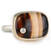 Rectangular Montana Agate Ring with Inset Drilled Diamond