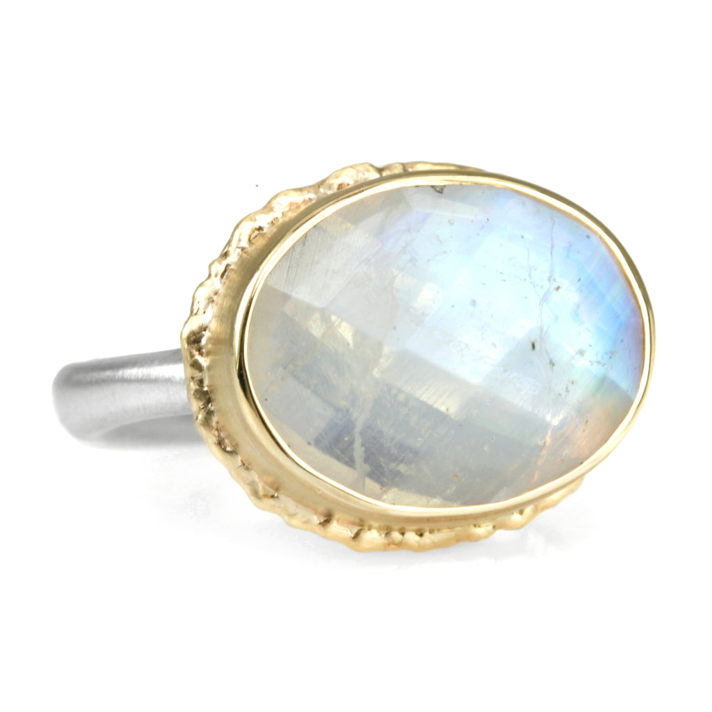 Oval Open-Back White Rainbow Moonstone Ring