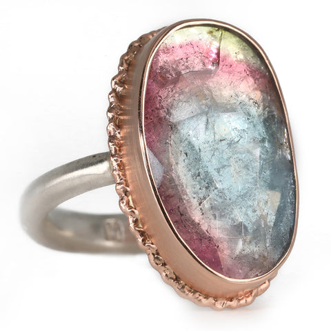 Rose Gold Vertical Asymmetrical Watermelon Tourmaline Ring