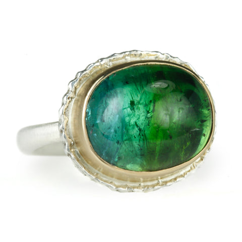 Oval Blue Green Tourmaline Ring