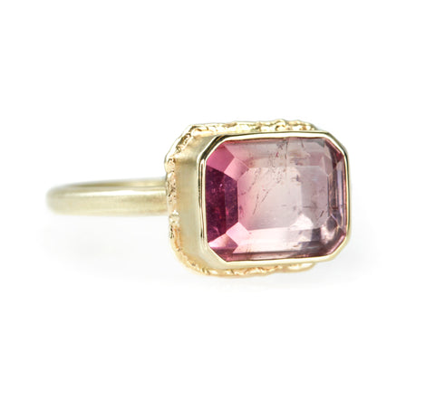 Jamie Joseph Gold Small Rectangular Pink Tourmaline Ring