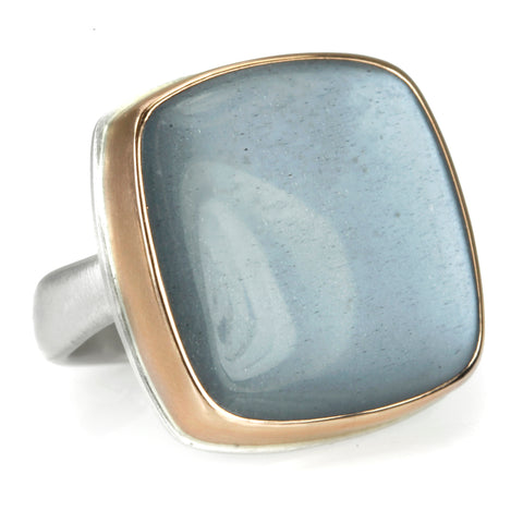 Rose Gold Square Smooth Grey Moonstone Ring