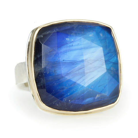Square Rose-Cut Rainbow Moonstone Ring