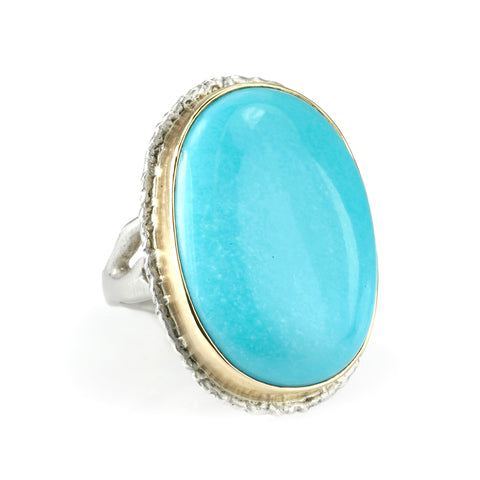 Jamie Joseph Vertical Oval Smooth Sleeping Beauty Turquoise Ring