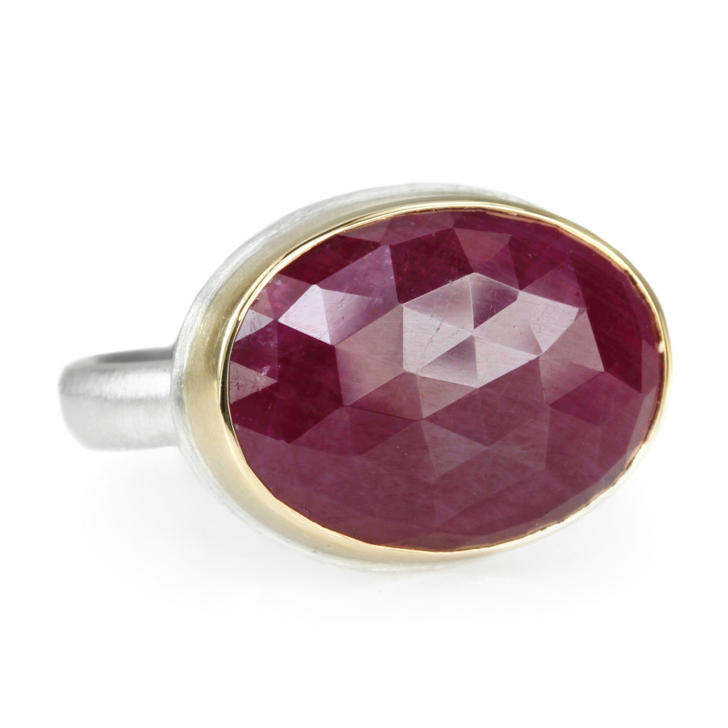 Oval Rose Cut Indian Ruby Ring