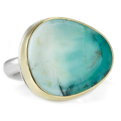 Asymmetrical Blue Indonesian Fossilized Opalized Wood Ring