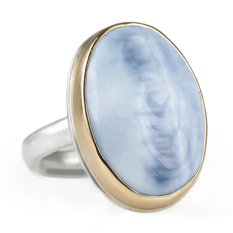 Jamie Joseph Vertical Oval Indian Blue Opal Ring