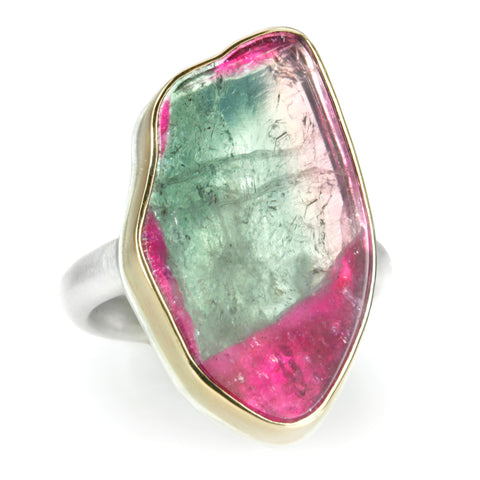 Vertical Asymmetrical Watermelon Tourmaline Slice Ring