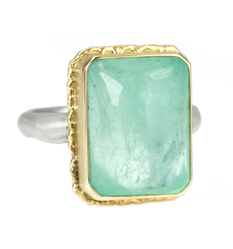 Vertical Rectangular Hand-Faceted Emerald Ring