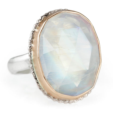 Jamie Joseph Rose Gold Oval Rose Cut White Rainbow Moonstone Ring