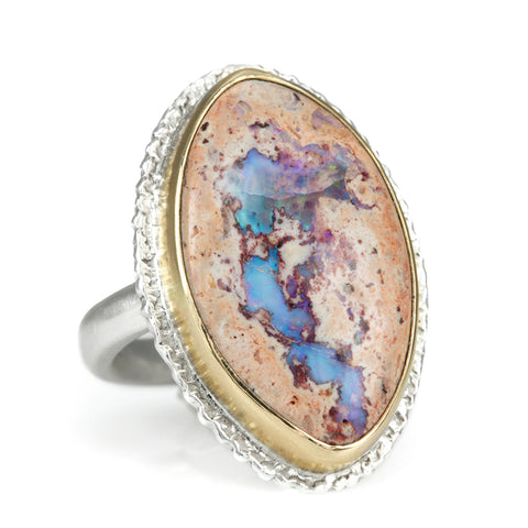"Vertical Marqiuse Mexican Fire Opal Ring with ""Lava"" Platform"