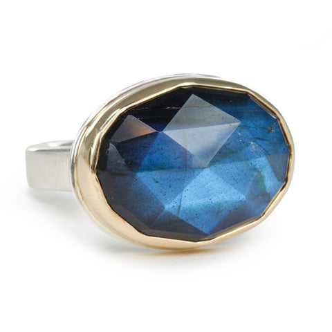 Horizontal Oval Rose-Cut Labradorite Ring
