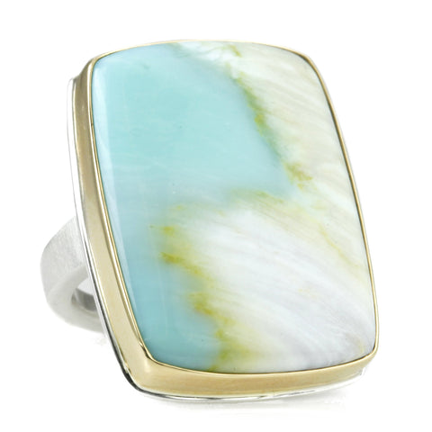 Large Vertical Rectangular Blue Indonesian Fossilized Opalized Wood Ring