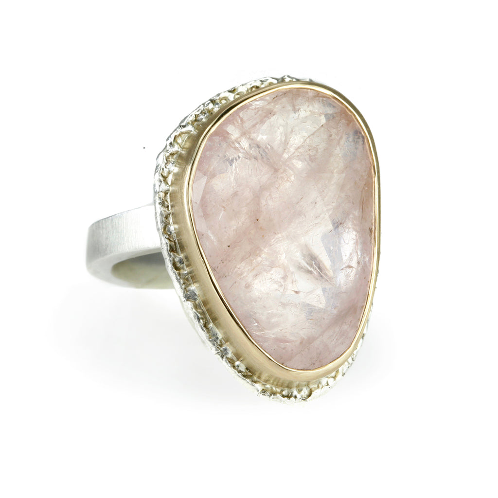 Jamie Joseph Vertical Asymmetrical Rose-Cut Morganite Ring
