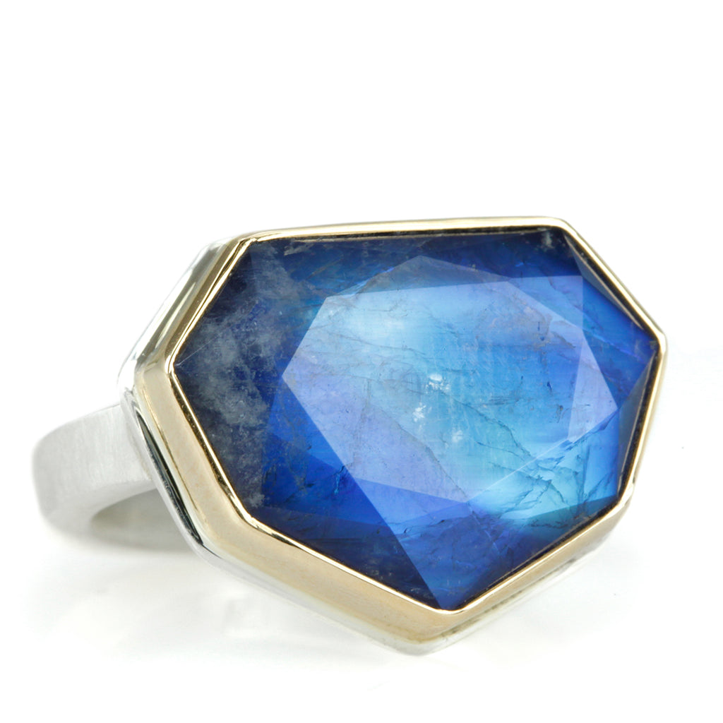 Shield-Shaped Blue Rainbow Moonstone Ring