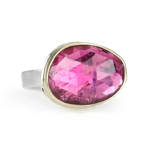 Asymmetrical Rose Cut Pink Tourmaline Ring