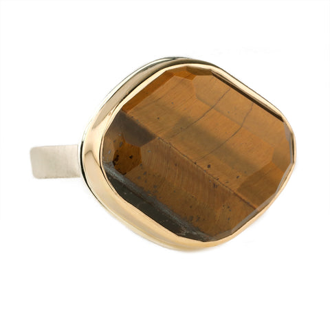 Jamie Joseph Asymmetrical Faceted Tiger's Eye Ring