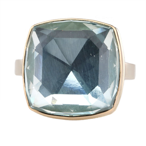 Square Rosecut Sky Blue Topaz Ring