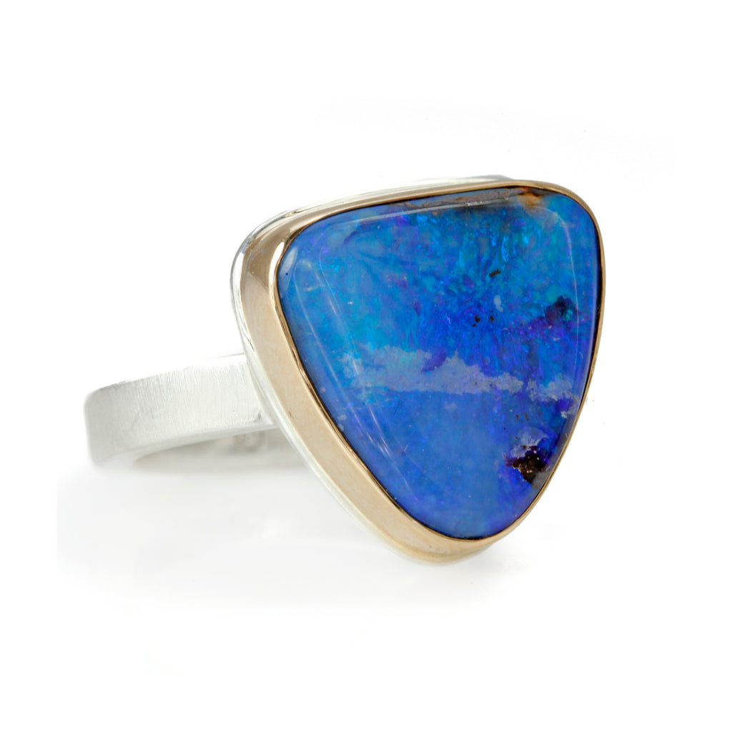 Small Triangular Boulder Opal Ring