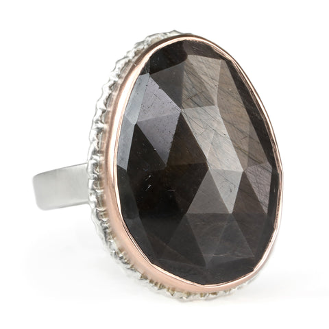Jamie Joseph Rose Gold Vertical Asymmetrical Rose Cut Brown Sapphire Ring
