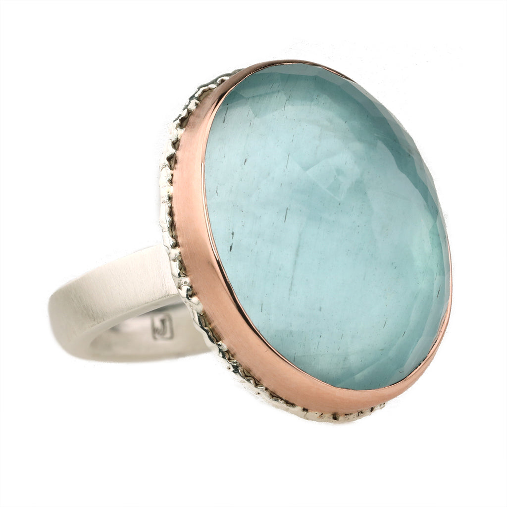 Vertical Oval Inverted Aquamarine Ring