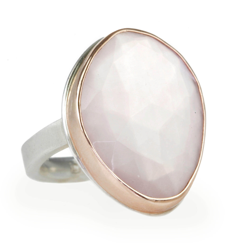 Asymmetrical Rose Quartz Ring