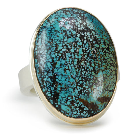 Large Smooth Vertical Oval Turquoise Ring