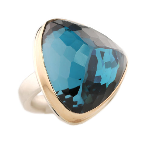 Jamie Joseph Vertical Asymmetrical Inverted London Blue Topaz Ring