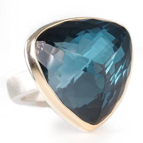 Inverted Triangular London Blue Topaz Ring