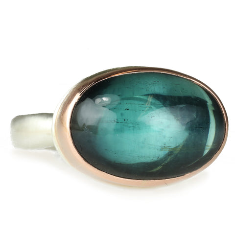 Smooth Oval Indicolite Ring in Rose Gold Bezel