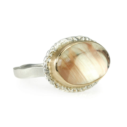 Jamie Joseph Horizontal Oval Smooth Oregon Sunstone Ring