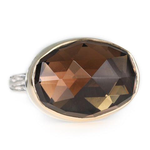 Rose Cut Oval Smoky Quartz Ring
