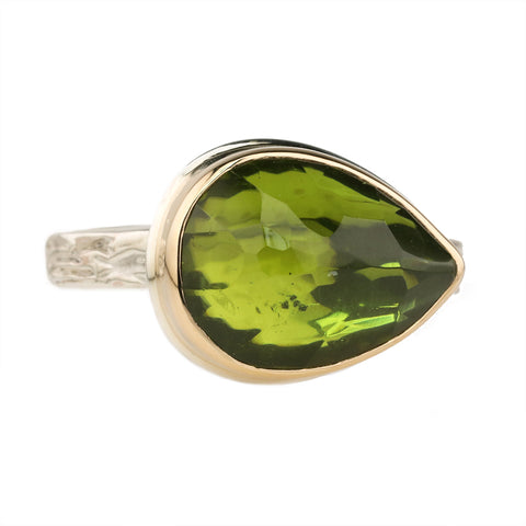 Small Teardrop Inverted Peridot Ring