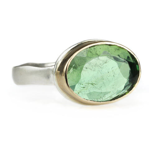 Jamie Joseph Small Oval Table-Up Green Tourmaline Ring