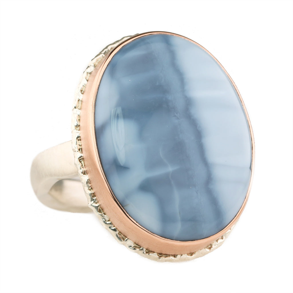 Jamie Joseph Smooth Vertical Oval Blue Indonesian Fossilized Opalized Wood Ring