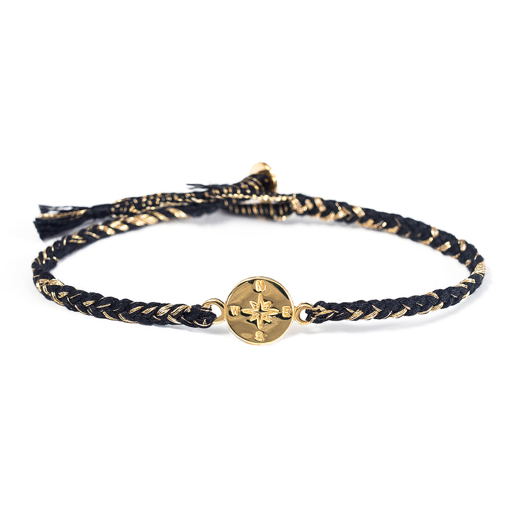 "Brass ""Compass"" Bracelet on Jet Black Mix Cotton Cord"