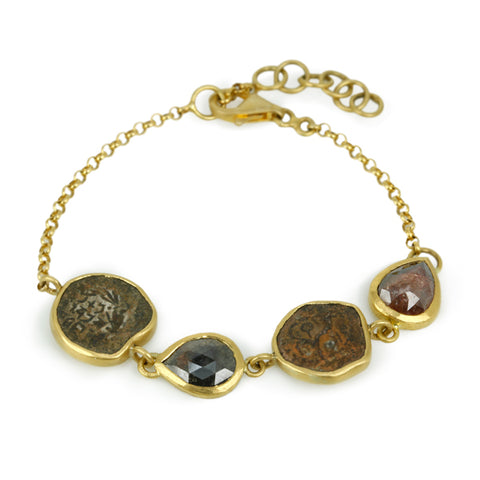 22K Gold Ancient Coin and Diamond Bracelet