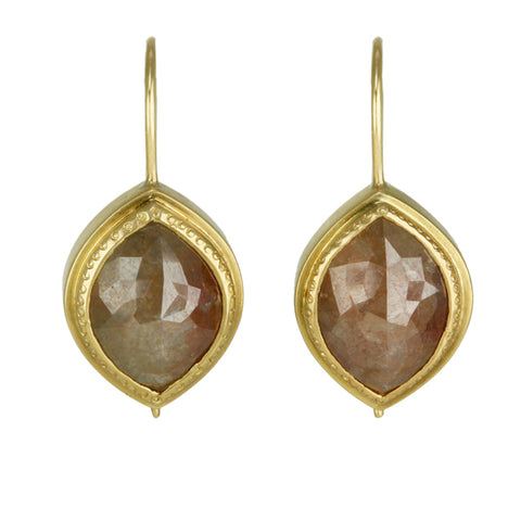 Gold and Rose Cut Brown Diamond Earrings