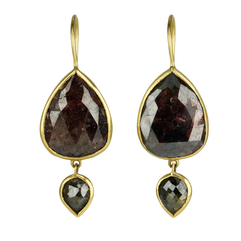 Gold and Double Drop Brown Diamond Earrings