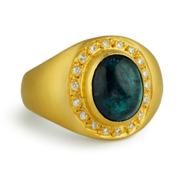 24K Gold Over Silver Ring with Blue Tourmaline and Diamond