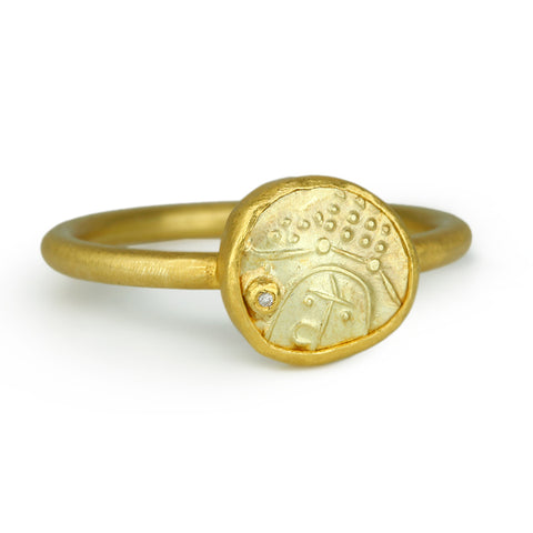 22K Gold Indian Coin Ring