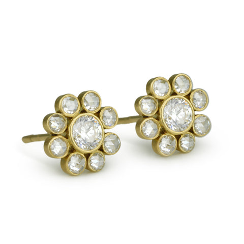 "Gold and Diamond ""Flower"" Post Earrings"
