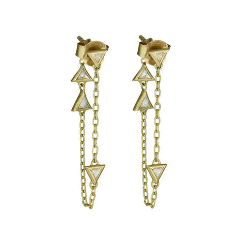 "Triangle Diamond and Chain ""Double Down Double Up"" Earrings"